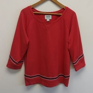 Lucky Brand Coral Lucky Lotus Embroider Sweatshirt